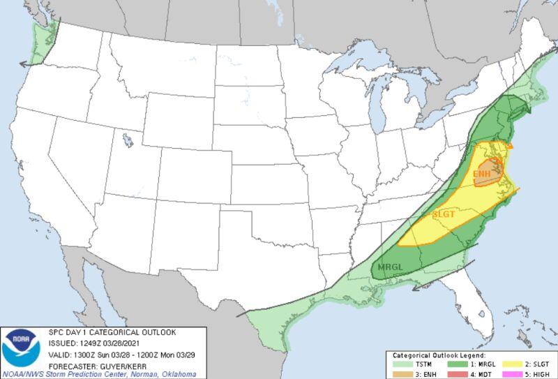 Ryzyko wystąpienia niebezpiecznych zjawisk pogodowych w Stanach Zjednoczonych (NWS)