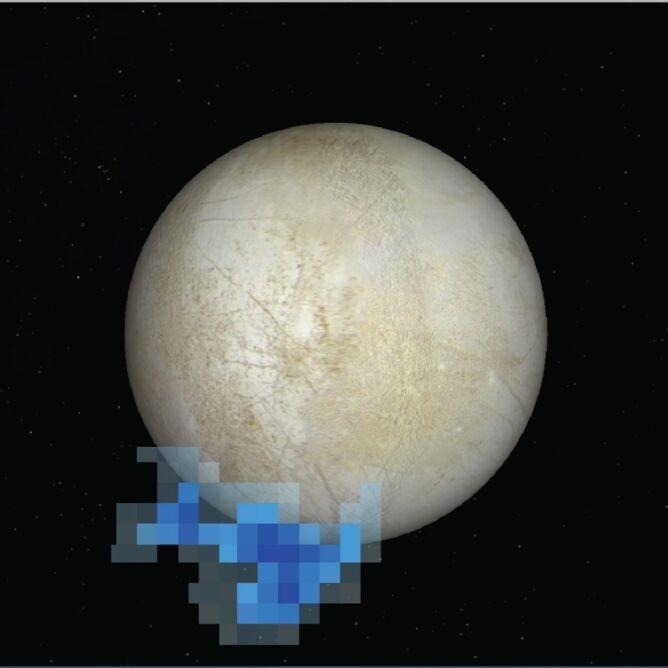 Teleskop Hubble'a wykrył ślady pary wodnej w rejonie południowego bieguna Europy - oznaczonym kolorem niebieskim