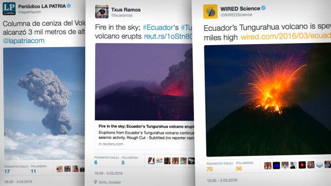 Wybuchł wulkan Tungurahua w Ekwadorze. <br />Chmura popiołu osiągnęła 5 km wysokości