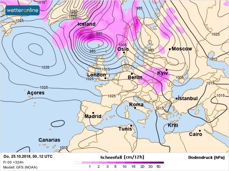 Prognoza na 25 października. Na różowo zaznaczono strefę opadów śniegu (wetteronline.de)